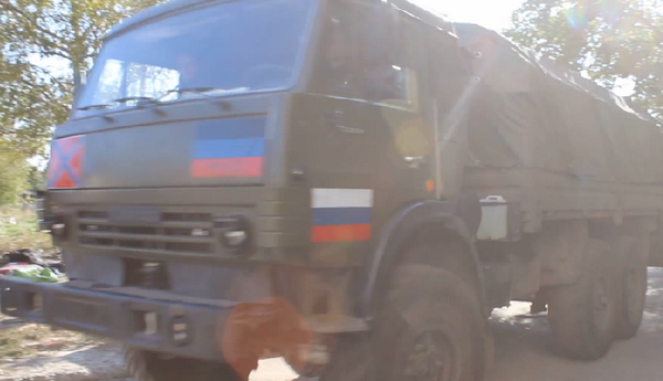 A militant truck in donetsk yesterday