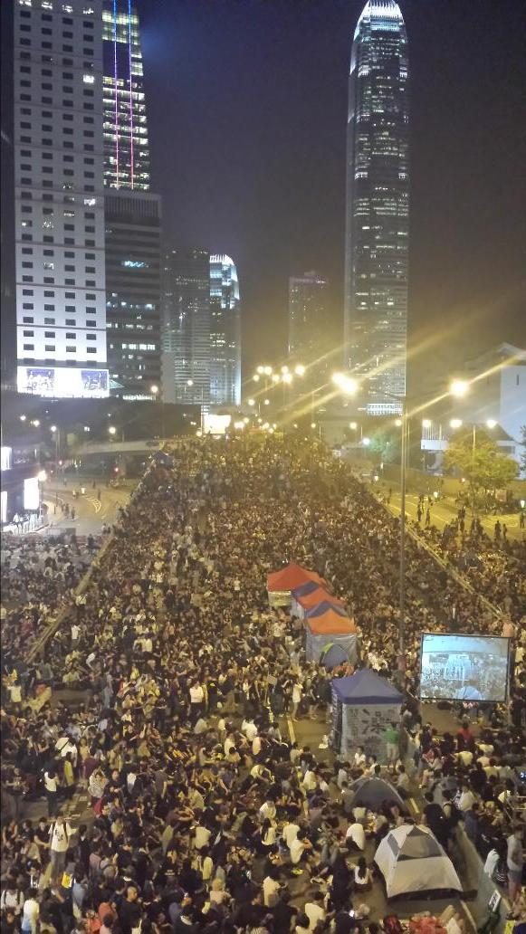 Hong Kong Friday. Protests now have projector screens, more tents OccupyCentral UmbrellaMovement