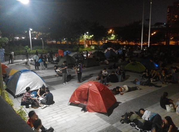 Tents are already popping up outside the Legco Building OccupyCentral UmbrellaRevolution OccupyHK