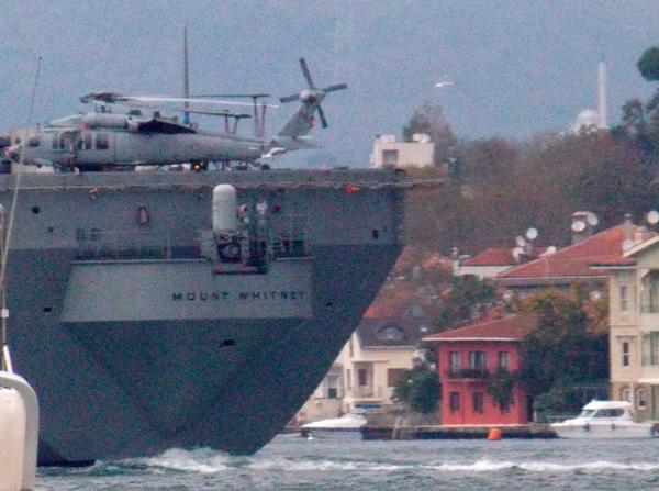 Twin turboshaft engine, multi-mission @usnavy helicopter SH60 Knight Hawk on USS Mount Whitney en route to Black Sea