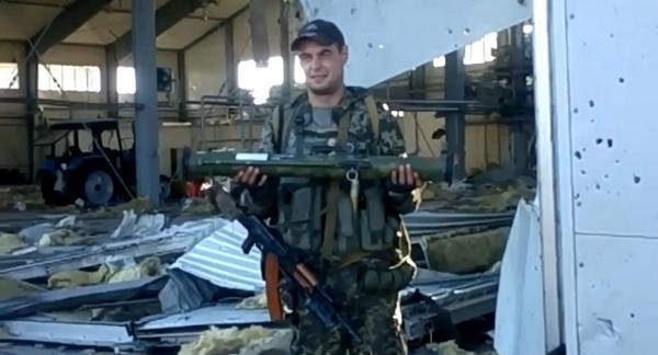Donetsk airport: Militant with disposable Russian RPG-22 Neto anti-tank rifle. Supplied from Russia.