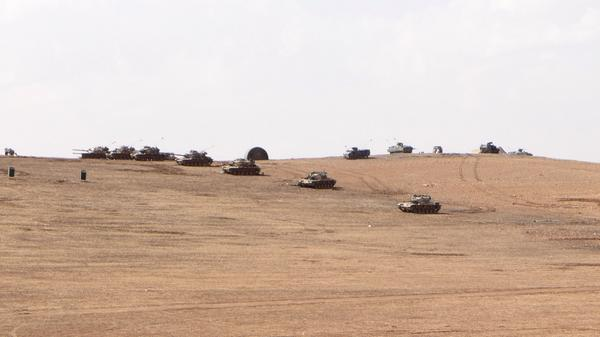 Tanks of the Turkish army on a hill 3km before Kobane IS Turkey