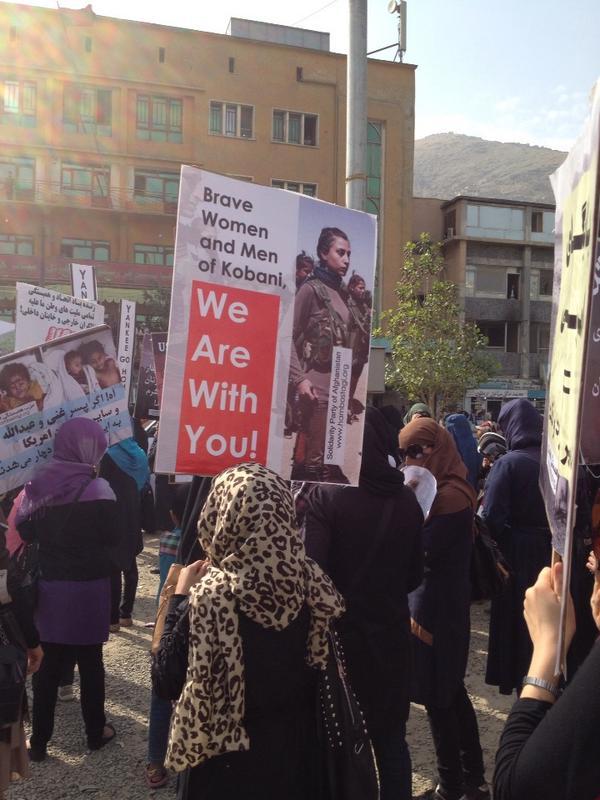 Afghan women protest in Kabul in solidarity with Kobane