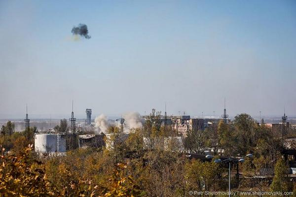 Donetsk today. Explosion of shells over the airport