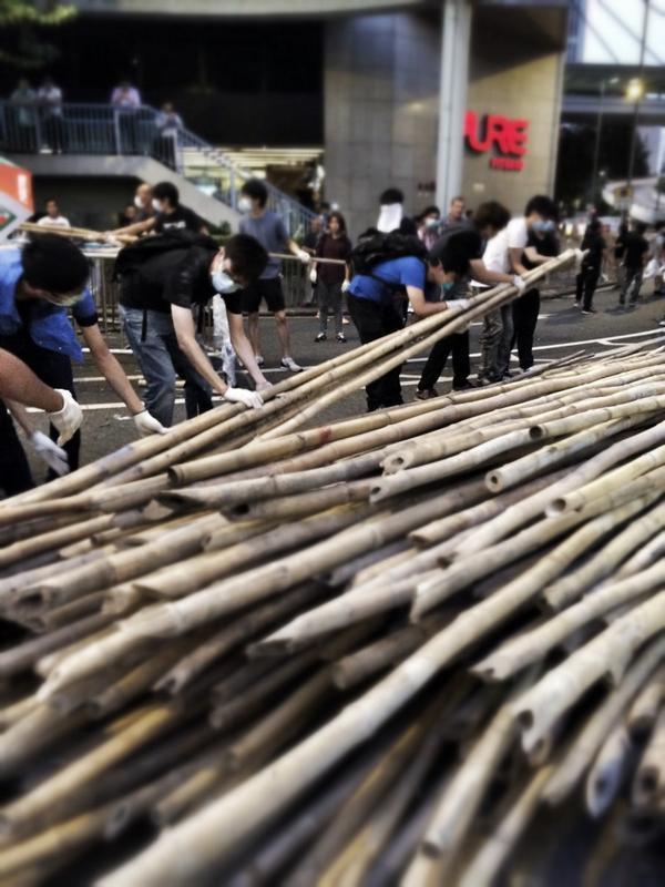 And a bamboo barricade rises in HongKong