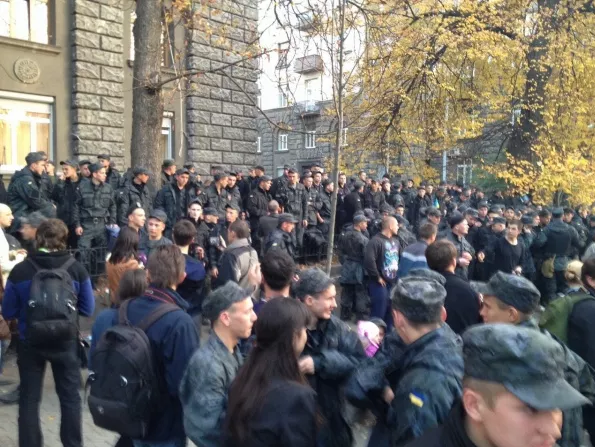 Rally of military near Administration of President