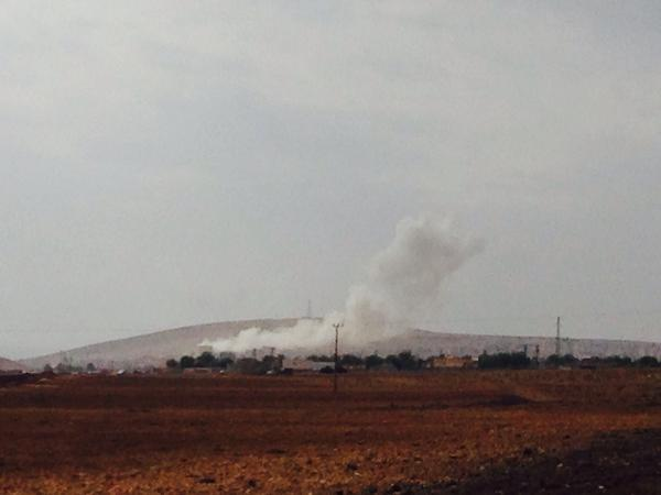 Airstrike just 5 minutes ago on the eastern side of Kobane