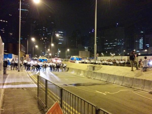 Lots of police suddenly. Lung WO Road. OccupyHK UmbrellaMovement