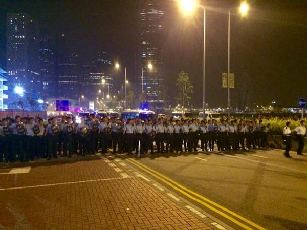 Police 500m from protester barricades. Police are urging students not to resist