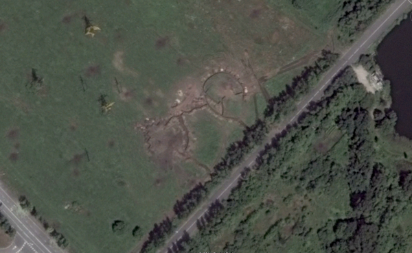Google maps shows the trenches Vostok battalion has build near Donetsk airport