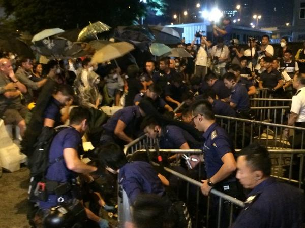 Barricades breached police forming up