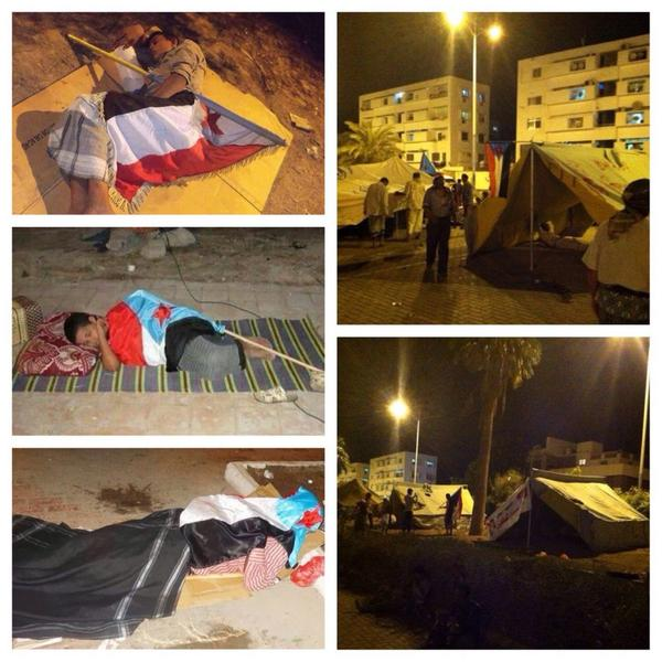 South Protesters erected tents and sleep in squares and said will not leave until we achieve our  goals