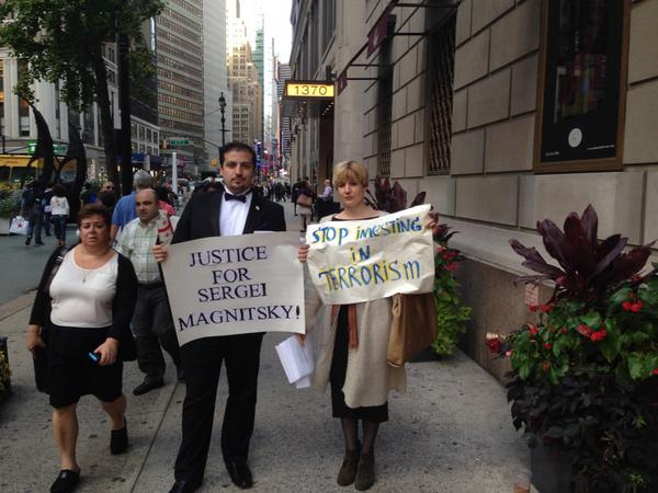 Demonstrators gathering outside of US Russian Business council meeting in NY to stop Putin