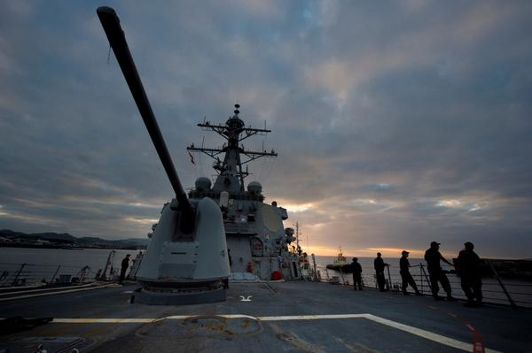 Guided-missile destroyer USS Arleigh Burke enters a port to refuel during a short visit in Ponta Delgada, Azores