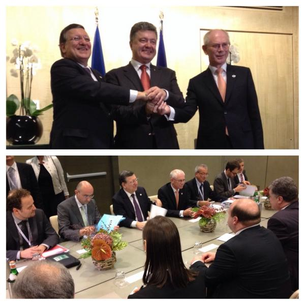Meeting of EU leaders and President @Poroshenko of Ukraine at the margins of ASEM2014 Summit in Milan