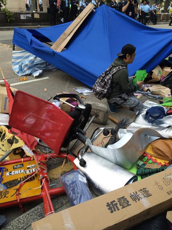 Wreckage of a protest camp, Mong Kok, Hong Kong