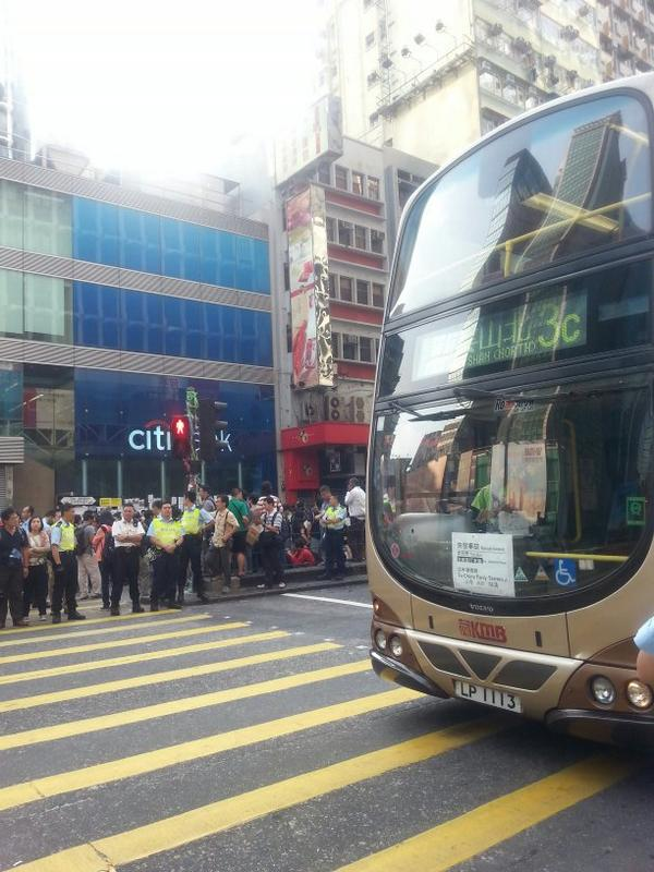 Buses are running now on Nathan Road Mong Kok