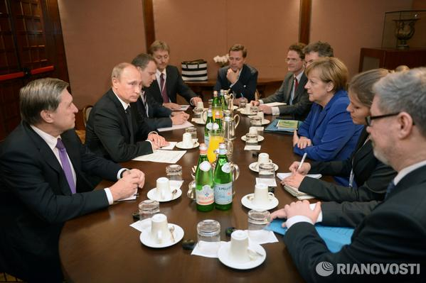 Breakfast meeting of Putin, Poroshenko, other European leaders has started in Milan