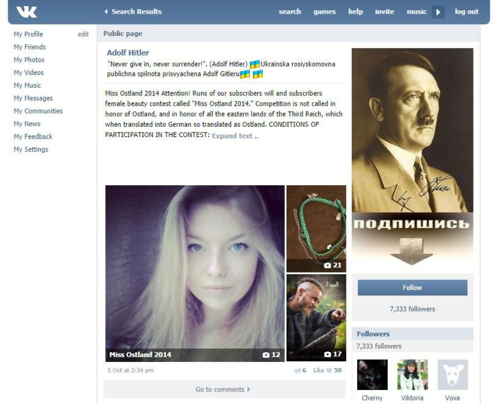 Russia's vKontakte is hosting a Miss Hitler contest