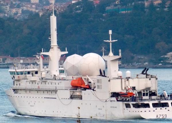 .@MarineNationale 's Intelligence gathering vessel Dupuy de Lôme A759 enters the Black Sea