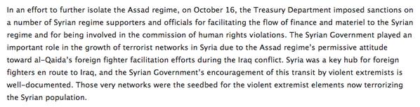 .@USTreasury tightens sanctions on Syria jihadis as well as on Bashar regime