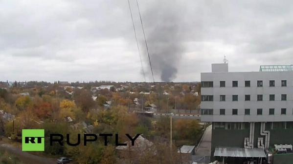 Plume of black smoke coming from Donetsk airport