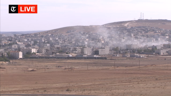 Explosions and heavy fighting continuing in Kobane