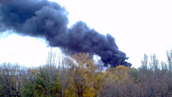 Burning in the area of Donetsk Chemical plant