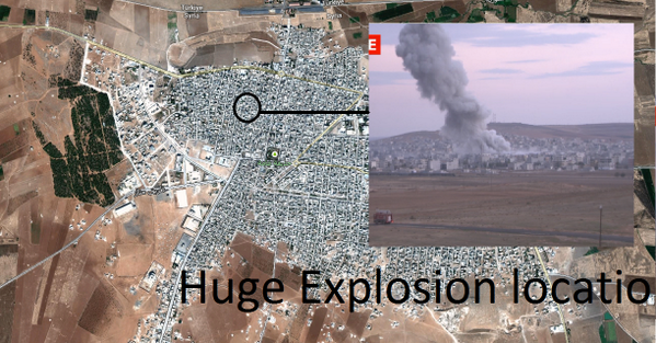 Big airstrike or VBIED there, in the north west of Ayn Al Arab, IS pushing deeper in the city