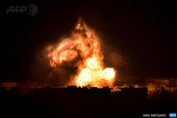 Flames rise from an explosion in the Syrian town of Kobane after a US-led coalition strike