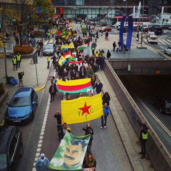 Rally in support of Kobane Today in Stockholm