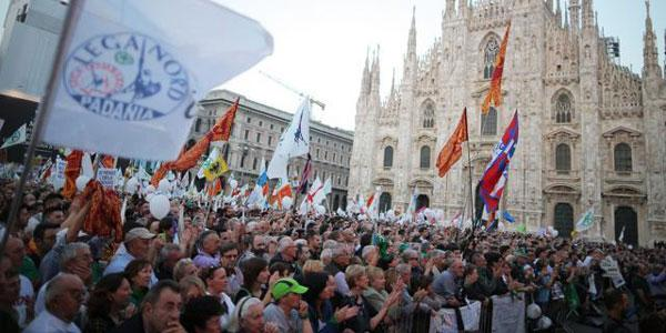 Italy: Thousands of people attended anti-immigration rally organised by Lega Nord in Milan today