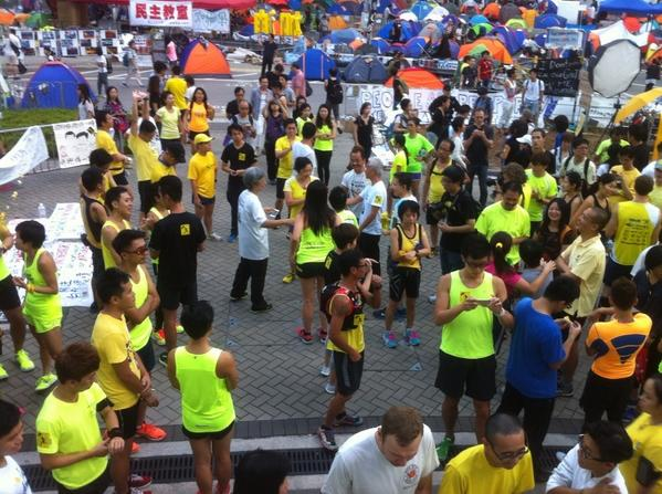 Dozens of HongKong protesters get ready to run a marathon in Admiralty. OccupyCentral