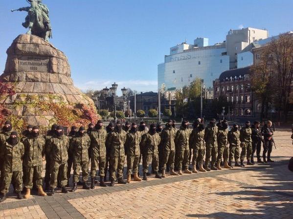 Kyiv, St. Sophia square. Newbies of Azov going to Donbass