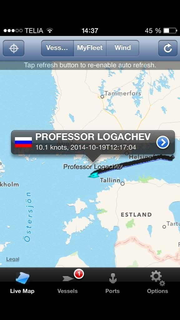 RU survey vessel 'Professor Logachev' appears to be sailing towards the area where a sub is allegedly in distress