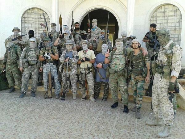 Jihadis from Jaish al-Muhajireen wal-Ansar who are fighting at Handarat
