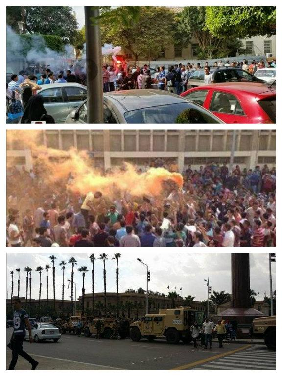 Egypt: Student protests at Cairo University earlier today. Via @GlobalRevLive
