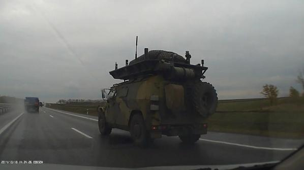 M23 Highway near Taganrih. GAZ-2330 Tigers are moving to the border