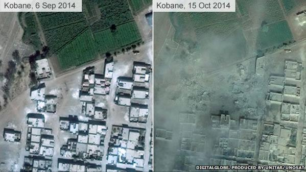 This is scale of devastation in Kobane - before and after images