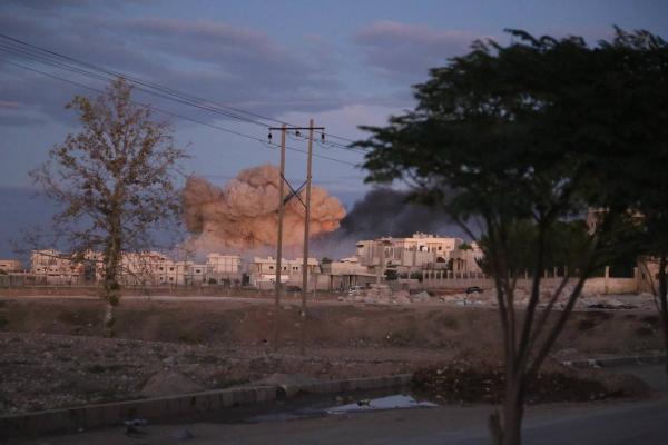One of the massive explosions inside Kobani
