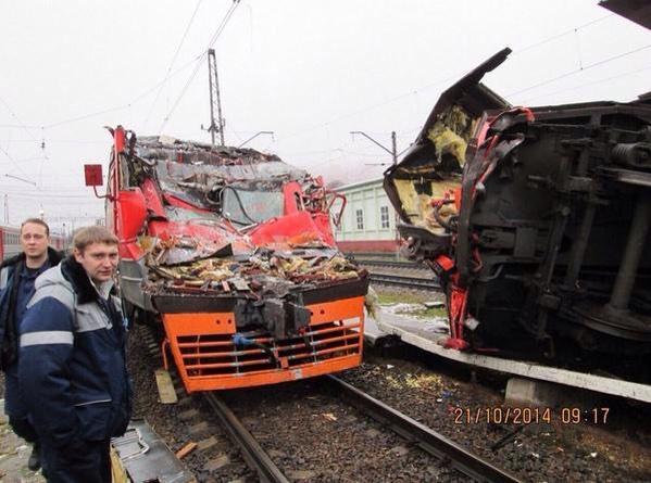 Depot Lobnya Russia. Train crash in hijack attempt