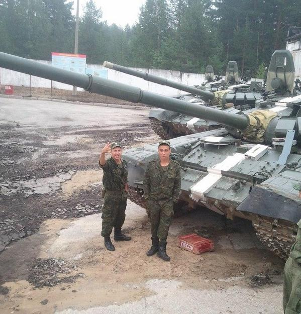 Russian tanks with Ukrainian signs