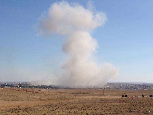 US airstrikes against ISIS unrelenting.  Triple  hit in center of Kobane.