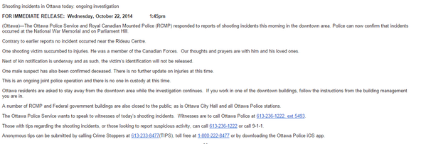 Ottawa police press release