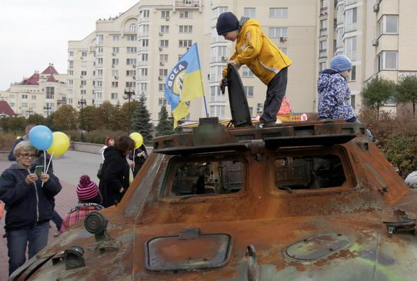 Azov brought captured militants armored vehicles to Kyiv