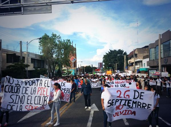 Mexico: Beginning of the March in Guadalajara in solidarity with the 43 missing students of Ayotzinapa