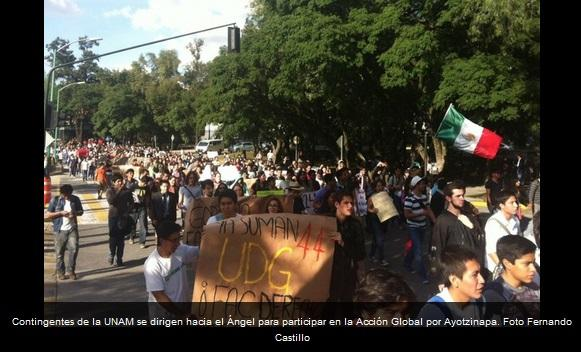 The Autonomous University (UNAM) contingent participates in Global Action for Ayotzinapa in Mexico City.