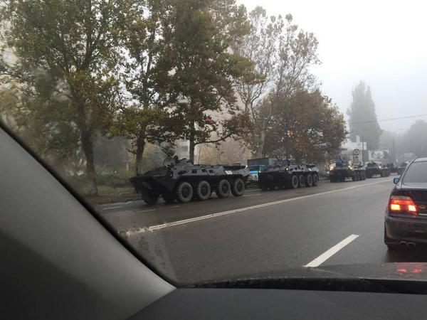 Armored vehicles and riot police  on high alert in Chisinau