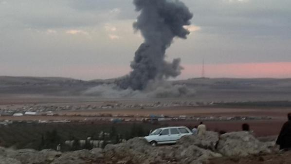 Another photo of airstrike on ISIS that held Tall Shair hill, west of Kobane, Syria