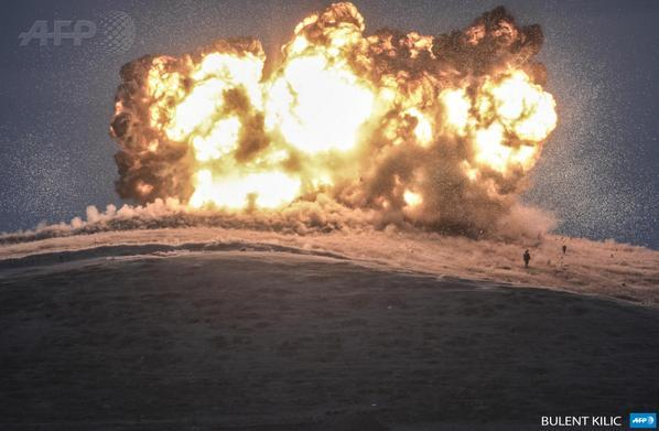 The last moments before ISIS militants were vaporized on the hill west of Kobane